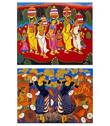 Bonalu Festival and Gypsy Dancers  - Set of 2 Small Posters