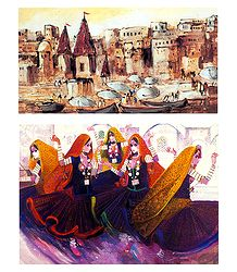 Banaras Ghat and Rajasthani Dancers  - Set of 2 Posters