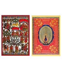 Phad Painting Reprint and Peacock Design - Set of 2 Small Posters