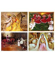 Rajasthani, Gujrati and Europen People - Set of 4 Posters