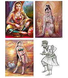 Indian Beauties and Sufi Singer - Set of 4 Posters