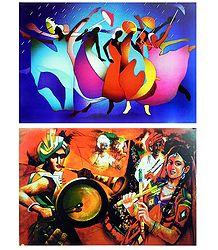 Rain Dance and Gujrati Dance - Set of 2 Posters