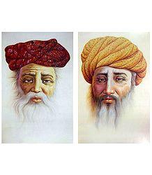 Rajasthani Old Men - Set of 2 Unframed Posters
