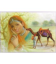 Rajasthani Man, Woman and Camel - Poster