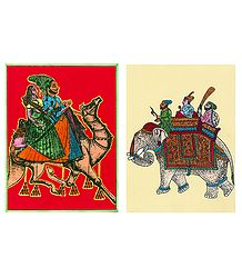 Dhola Maru & King on Elephant - Set of Two