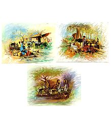 Indian Rural Life - Set of 3 Poster