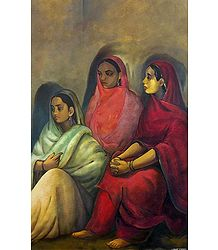 Three Girls - Reprint of Amrita Shergill's Painting