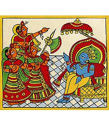 Krishna as the King of Dwarka - Phad Painting