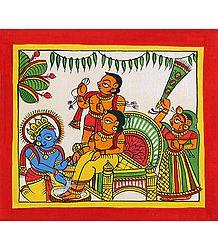 Lord Krishna Washing His friend Sudama's Feet - Phad Painting