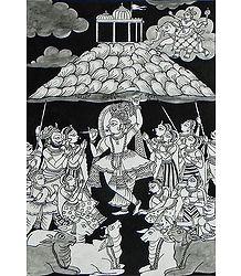Krishna Holding Giri Govardhan