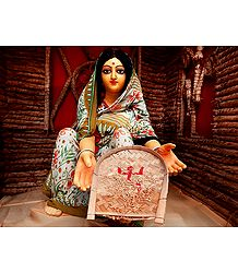 Bengali Lady Husking Rice - Photographic Print