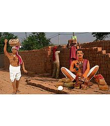 Brick Maker Picture - Unframed Photo Print on Paper