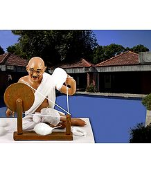 Photo Print of Mahatma Gandhi Spinning Charkha