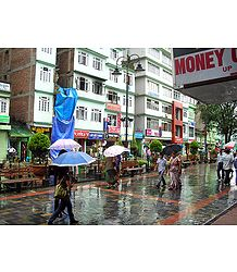 M.G Road Market During Rain, Gangtok - East Sikkim, India
