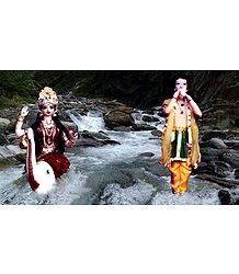 Bhagirath and Goddess Ganges Photo - Unframed Photo Print on Paper
