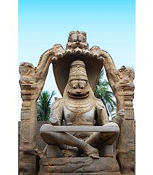Statue of Narasimha Avatar (Incarnation of Vishnu), Hampi - Karnataka, india