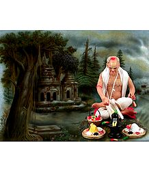 Photo Print of Hindu Priest Performing Puja