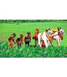 Indian Farmers - Unframed Photo Print on Paper