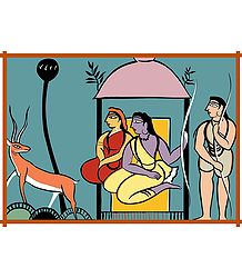 Ram, Lakshman, Sita - Photo Print of Jamini Roy Painting
