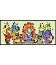 Sita's Agnipariksha - Photo Print of Jamini Roy Painting
