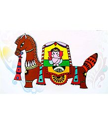 Ganesha Sitting on Horse - Photo Print of Jamini Roy Painting