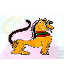 Lion - Photo Print of Jamini Roy Painting