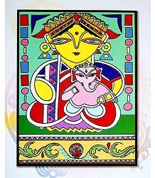 Parvati with Ganesha - Photo Print of Jamini Roy Painting