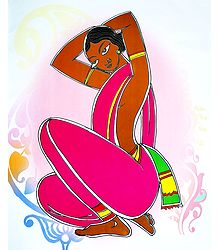 Santhal Woman - Photo Print of Jamini Roy Painting