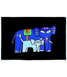Elephant - Mother and Child - Photo Print of Jamini Roy Painting