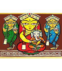 Lakshmi, Saraswati and Durga with Ganesha - Photo Print of Jamini Roy Painting