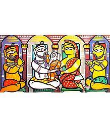 Lord Shiva, Parvati and Ganesha - Photo Print of Jamini Roy Painting