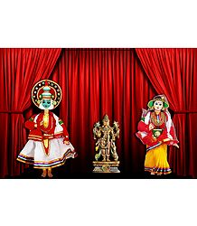 Kathakali Dancers as Draupadi and Arjuna