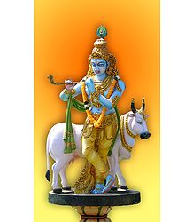 Lord Krishna with Cow - Photographic Print