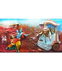 Krishna Attacks Bhishma with a Chariot Wheel