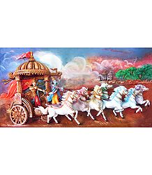 Krishna and Arjuna on Chariot During Kurukshetra War