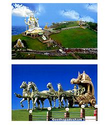 Murudeshwar Temple and Geetopodesham, India - Set of 2 Photos