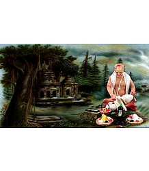 Priest Performing Puja Picture - Unframed Photo Print on Paper