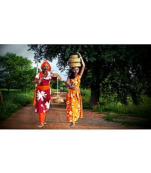 Snake Charmer Couple Photo - Unframed Photo Print on Paper