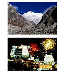 Majestic Himalayas and Isckon Temple, Bangaluru - Set of 2 Photo Prints