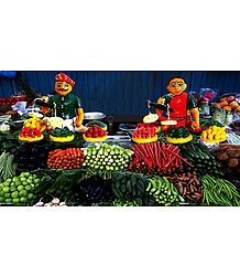 Vegetable Sellers Photo - Unframed Photo Print on Paper