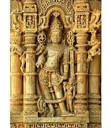 Vishnu - Temple Sculpture from Chittor, Rajasthan, India