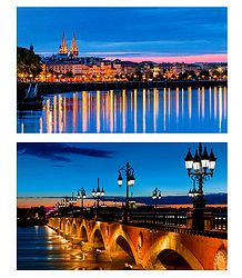 Night View of Bordeaux, France - 2 Postcards