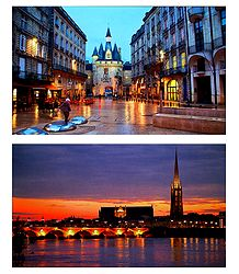 Night View of Bordeaux, France - Set of 2 Postcards