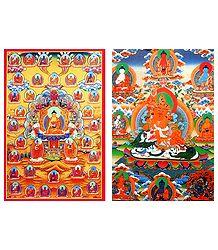35 Buddhas and Vaishravana - Set of 2 Postcards