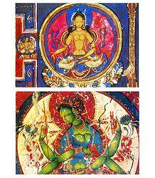 Mandala of the Diamond Sphere and Green Tara - Set of 2 Postcards