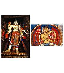 Avalokiteshvara and Bodhisattva Vajra (Reprint of Medieval Painting) in Alchi Monastery, Ladakh - Set of 2 Postcards