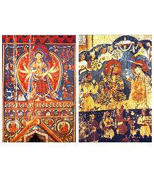 Buddha Akshobhaya and Royal Drinking Scene (Reprint of Medieval Paintings) in Alchi Monastery, Ladakh - Set of 2 Postcards