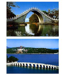 Jade Belt Bridge and the Seventeen Arch Bridge, China - Set of 2 Postcards