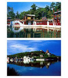 Suzhou Street, Rear Lake and the Summer Palace, China - Set of 2 Postcards