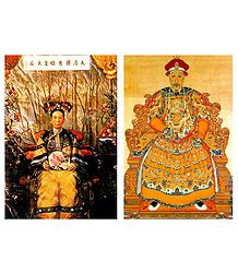 Empress Dowager Ci'xi Emperor Qianlong, China - Set of 2 Postcards